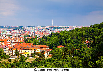Prague from Petrin Hill - beautiful panorama of Prague from...