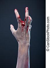 véres, életre keltett hulla, kéz