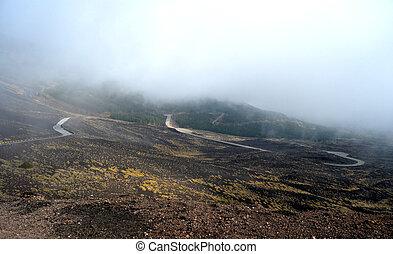 Etna - roads through ancient lava flows