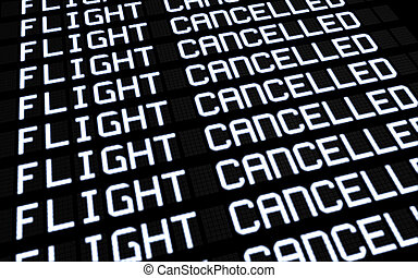 Airport Board Cancelled Flights - Airport terminal...