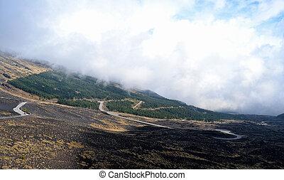 Etna  -  Etna - roads through ancient lava flows