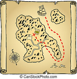 treasure map - illustration of an old treasure map