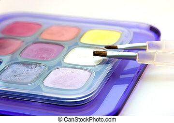 Multicolor eye shadows - Set of multicolor eye shadows with...