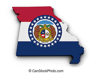 Missouri Flag Map Shape - Shape 3d of Missouri state map...