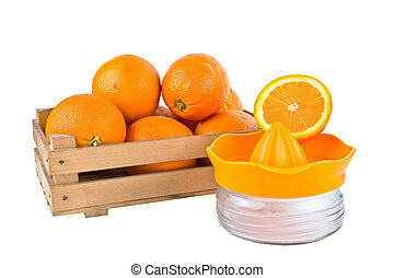 orange fruits in a wooden crate iso