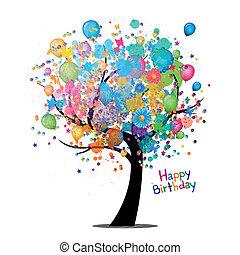 Wektor, szczęśliwy, Urodziny, Powitanie, Karta