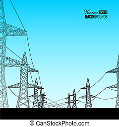 Electric power transmission Vector illustration, contains...