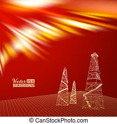 Oil derrick. - Oil derrick with red backdrop. Vector...