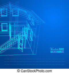 Wireframe of building. Vector illustration, eps10, contains...