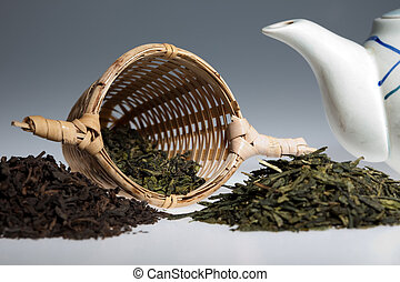 Green tea assortment with tea-strainer and teapot