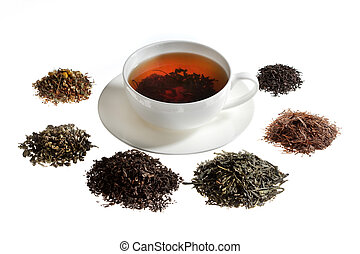 Tea assortment around the white cup of tea