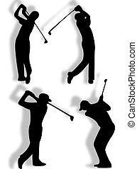 Golfer silhouette in different pose and action
