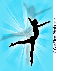 Woman expression - Jumping woman silhouette on a colorful...