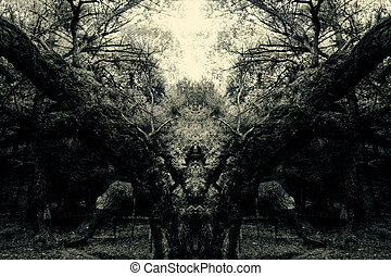 demonic forest - abstract vintage spooky forest background