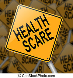 Illustration depicting a sign with a health scare concept.