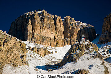 sella - Summit of sella mountain range with snow Dolomites,...