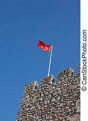 Turkish flag on the medieval fortification wall