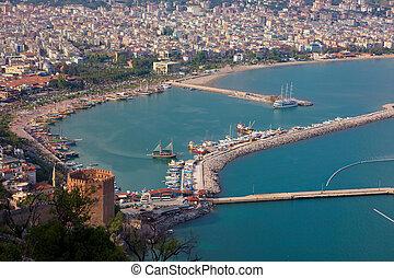 Alanya city Turkey harbor in the evening