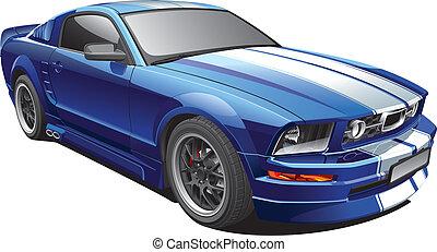 bleu, muscle, voiture