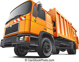 compact garbage truck - Detail vector image of orange...