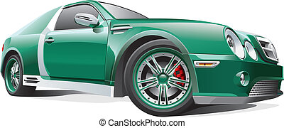green dragster - Detail vector image of green drag car,...