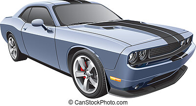 grey muscle car - Detail vector image of modern muscle car,...