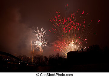Fireworks - VILNIUS, LITHUANIA - JANUARY 1, 2009: Fireworks...