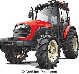 czerwony, traktor