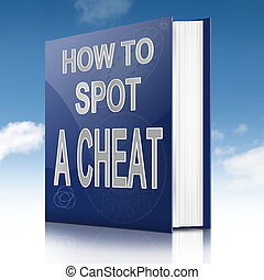 Spot a cheat. - Illustration depicting a text book with a...