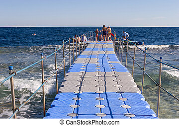 Pontoon bridge in the Red sea