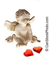 Cupid with two red hearts