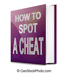 Spotting a cheat. - Illustration depicting a text book with...