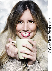 bonito, café, chá, jovem, bebendo, menina, ou