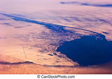 Suez - Aerial view of Suez Canal and seaport Suez, Egypt