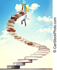 try to success - man hang on 3d book stair