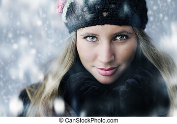 roupas, Retrato, mulher, Inverno, jovem