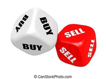 Buy sell dices - Rendered artwork with white background