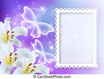 Lilies blossom with butterflies and photo frame - Lilies...