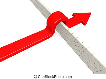 Red arrow overcome barrier. - Rendered artwork with white...