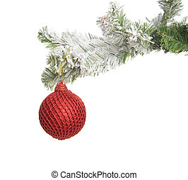 Christmas decoration - Red Christmas sphere weighing on a...