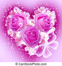 Flowers in heart shape - Card with bouquet flowers in heart...