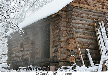 Bathhouse in winter - Old traditional bathhouse in winter