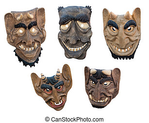 Lithuanian wooden masks - LIthuanian folk art - traditional...