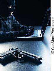 Hacker stealing data