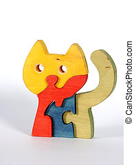 Puzzle: a colorful cat from four segments