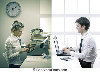 Old and new business - Business woman and business man...
