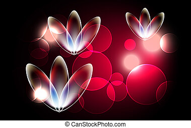 Glowing background with magic flowers