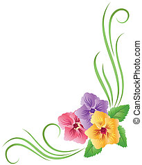 Floral ornament - Corner floral ornament with pansy