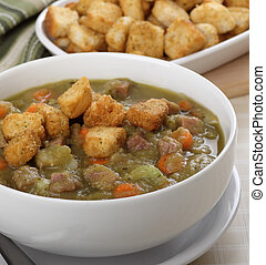 Split Pea Soup - Split pea and ham soup with croutons on top
