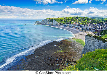 Etretat village. Aerial view from the cliff. Normandy, France.